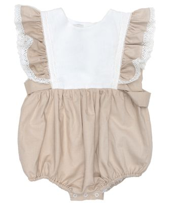 The Oaks Baby / Toddler Girls Darlin' Tan / Cream Linen Bubble