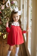 The Oaks Baby / Toddler Girls Rachel Red Dress Set - Wreath Collar