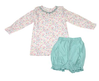 The Oaks Baby / Toddler Girls Ruth Ann Pink / Green Floral Smocked Bloomers Set