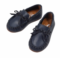 The Oaks Boys Classic Leather Loafers - Navy Blue