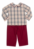 The Oaks Boys Jason Tan Tartan / Burgundy Pants Set