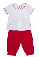 The Oaks Boys Red Pants Set - Soldier Embroidered Collar
