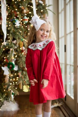 The Oaks Girls Anne Red Christmas Dress - Wreath Collar