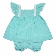 The Oaks Girls Aqua Monica Bloomers Set - Lace Trim