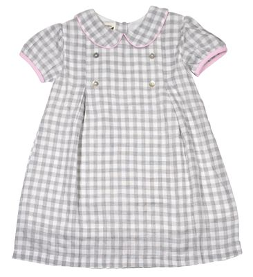 The Oaks Girls Kay Gray Check Dress - Pink Trim