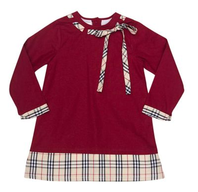 The Oaks Girls Lacee Burgundy / Tan Tartan Dress