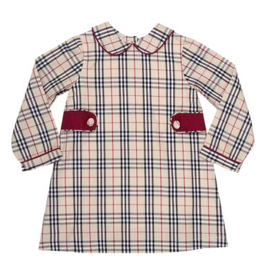 The Oaks Girls Leigh Tan Burberry Plaid Tartan Dress