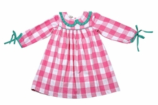 The Oaks Girls Miranda Hot Pink Check Dress - Green Trim