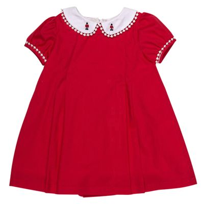 The Oaks Girls Sharon Solid Red Dress - Toy Soldier Embroidered Collar