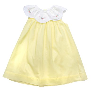 The Oaks Girls Sleeveless Yellow Harper Dress - Embroidered Scallop Collar