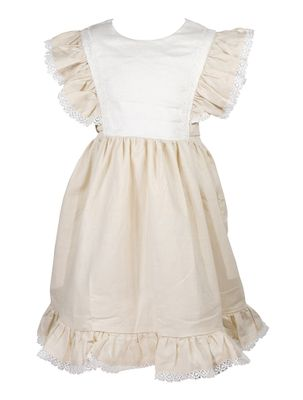 The Oaks Girls Tan Linen Blend Grace Dress - Pinafore Style and Sash