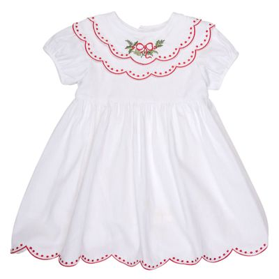 The Oaks Girls White Holly Embroidered Christmas Dress