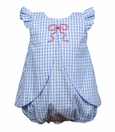 The Proper Peony Baby Girls Blue Gingham Georgie Bubble with Bow Embroidery