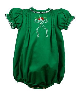 The Proper Peony Baby Girls Forrest Green Christmas Bow Bubble