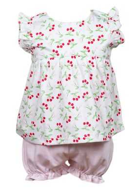The Proper Peony Baby Girls Parkside Bonnie Bloomers Set - Cherry