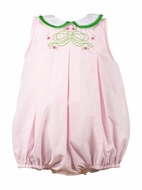 The Proper Peony Baby Girls Pink / Green Bow Palmer Bubble