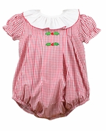 Pre-Order: The Proper Peony Baby Girls Red Garnet Holly Embroidery Bubble