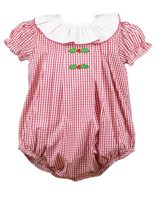 The Proper Peony Baby Girls Red Garnet Holly Embroidery Bubble