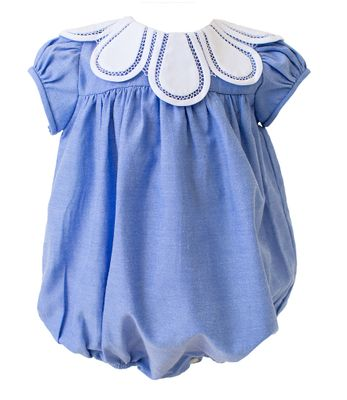 The Proper Peony Baby Girls Chambray Blue Tulip Collar Bubble