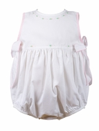 The Proper Peony Baby Girls White / Pink Rosie Bubble with Side Bows