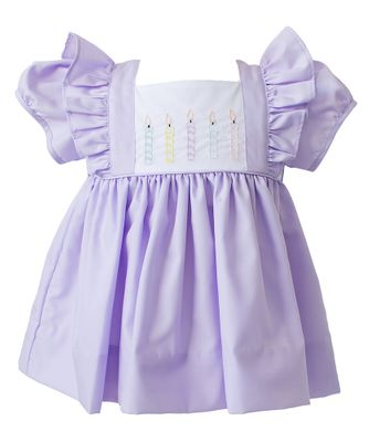 The Proper Peony Baby / Toddler Girls Lavender Birthday Candles Dress