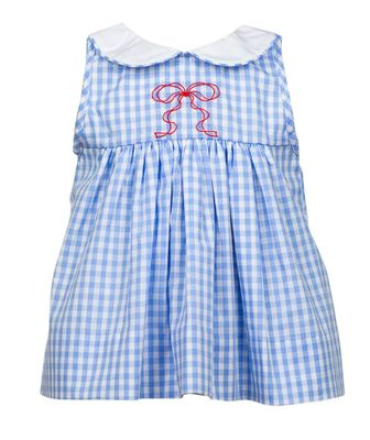 The Proper Peony Girls Blue Gingham Georgie Dress - Embroidered Red Bow