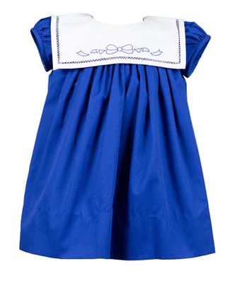 The Proper Peony Girls Blue Lily Bow Dress - Square Collar