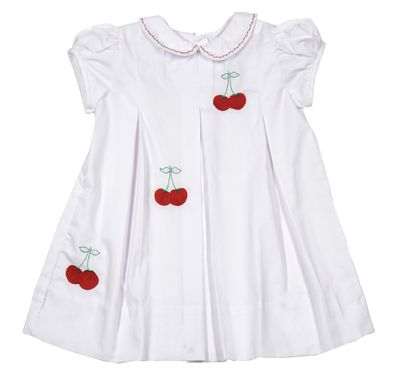The Proper Peony Girls Classic Cherry Dress - White with Embroidered Cherries