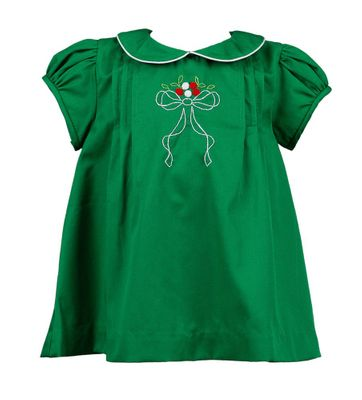 The Proper Peony Girls Forrest Green Christmas Bow Dress
