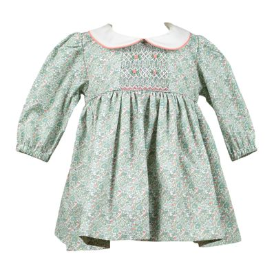 The Proper Peony Girls Green Floral Smocked Darcy Dress