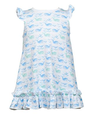 The Proper Peony Girls Parkside Blue Whales Riley Ruffle Dress