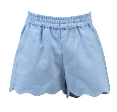 The Proper Peony Girls Parkside Susie Scallop Shorts - Blue