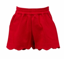 The Proper Peony Girls Parkside Susie Scallop Shorts - Red