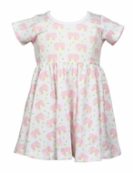 The Proper Peony Girls Parkside Tatum Twirl Dress - Pink Elephants