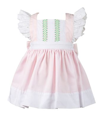 The Proper Peony Girls Pink Cecily Pinafore Dress