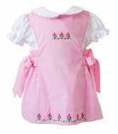 The Proper Peony Girls Pink Phoebe Embroidered Flowers Jumper Dress
