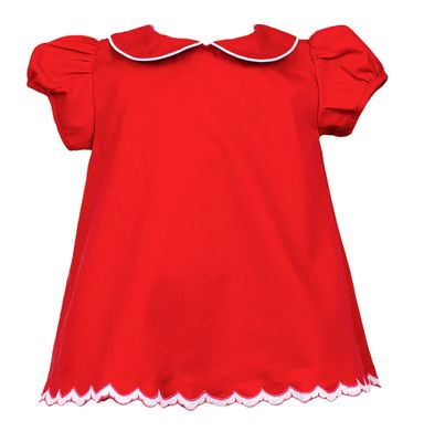 The Proper Peony Girls Red Ramsay Scallop Dress