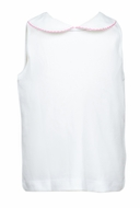 The Proper Peony Girls Parkside Sleeveless White Knit Shirt - Pink Trim