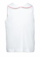 The Proper Peony Girls Parkside Sleeveless White Knit Shirt - Red Trim