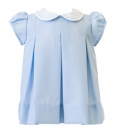 The Proper Peony Girls Wedgewood Blue Pleat Dress