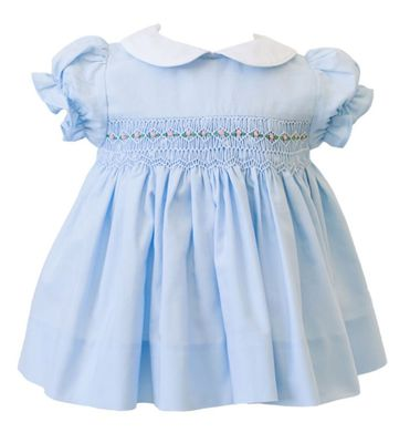 The Proper Peony Girls Wedgewood Blue Smocked Dress with Collar