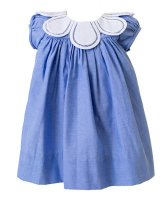 The Proper Peony Girls Chambray Blue Tulip Collar Dress