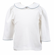 The Proper Peony Girls White Knit Blouse - Elbow Length Sleeves - Trimmed in Dusty Blue