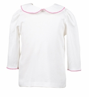 The Proper Peony Girls White Knit Blouse - Elbow Length Sleeves - Trimmed in Pink