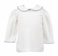 The Proper Peony Girls White Knit Blouse - Elbow Length Sleeves - Trimmed in Royal Blue