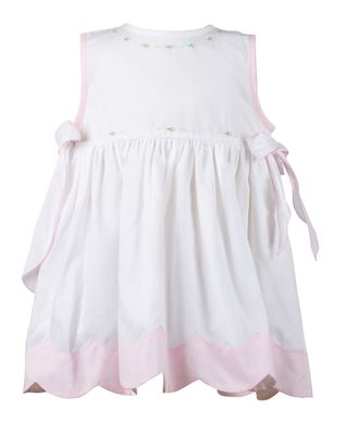 The Proper Peony Girls White / Pink Rosie Dress with Side Bows