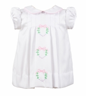 The Proper Peony Girls White Sonnet Dress - Embroidered Pink Heart Wreaths