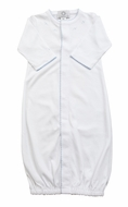 The Proper Peony Layette - Baby Boys Pima Converter Gown - White with Bllue