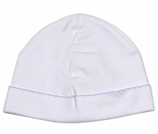 The Proper Peony Layette - Baby Boys Pima Cotton Hat - White with Blue Trim