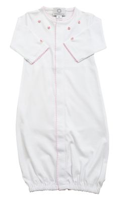 The Proper Peony Layette - Baby Girls Pima Converter Gown - White with Pink